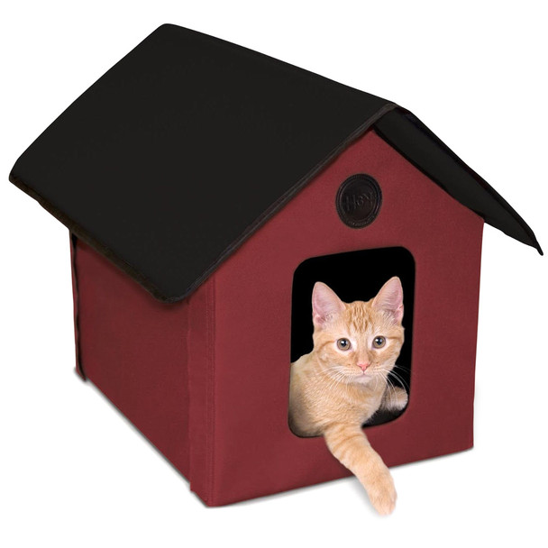 K&H Outdoor Heated Barn Red Black Kitty House (3994)