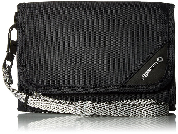 PACSAFE RFIDsafe V125 Anti-Theft RFID Blocking Black Tri-Fold Wallet (10558100)