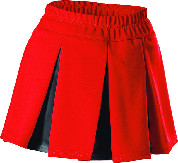 ALLESON ATHLETIC Womens Cheerleading Multi Pleat Scarlet/Black Skirt (C201M-SCBK)