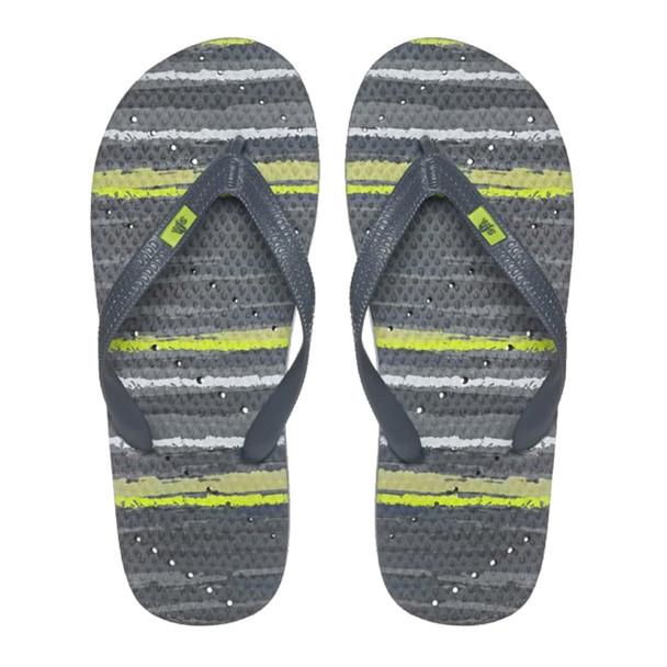 SHOWAFLOPS Mens Watercolor Stripe Slate/Lime Flip-Flops (649)