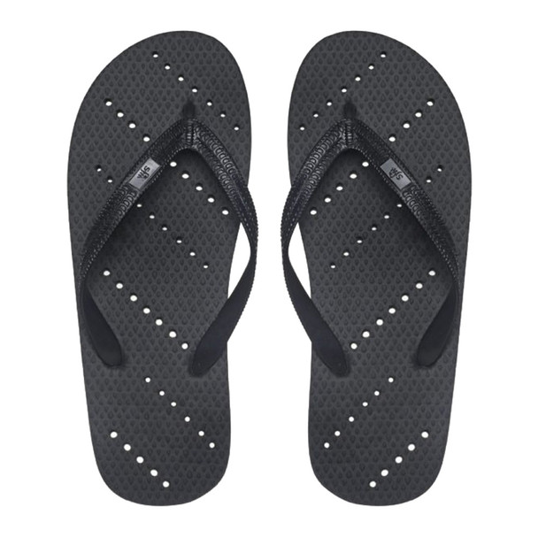 SHOWAFLOPS Mens Diagonal Stripe Black Flip-Flops (659)