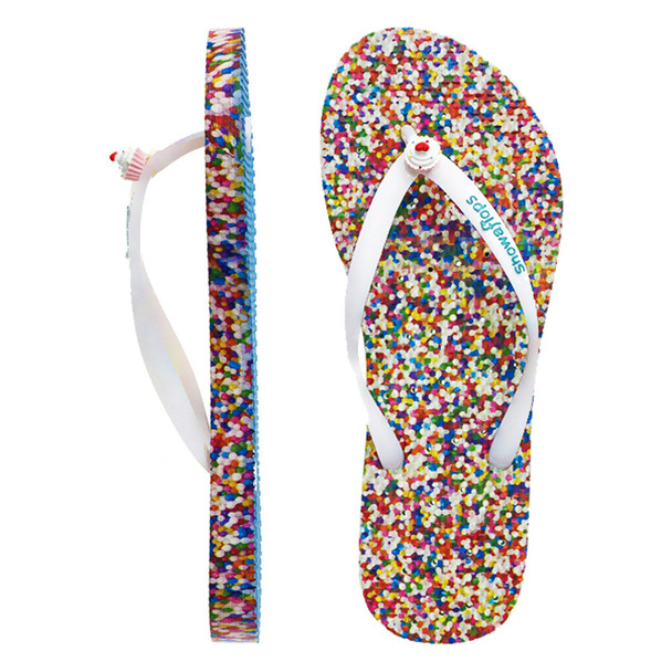 SHOWAFLOPS Womens Sprinkles White/Multi Flip-Flops (7200)