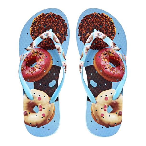 SHOWAFLOPS Womens Doughnuts Light Blue/Multi Flip-Flops (7700)