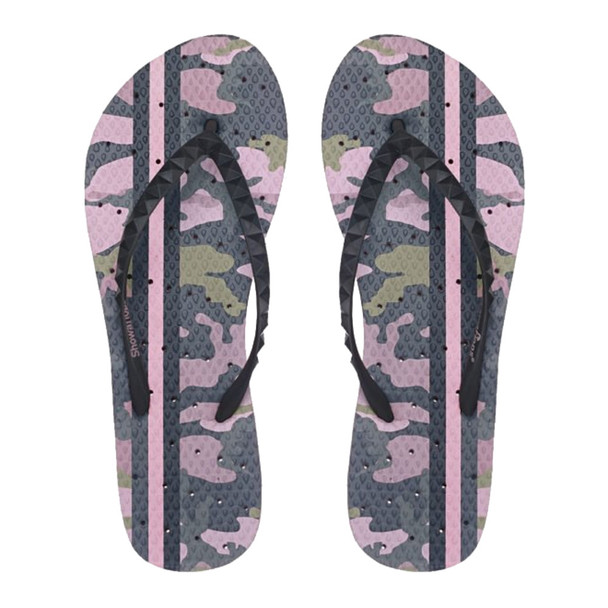SHOWAFLOPS Womens Vintage Camo Light Pink/Olive Green Flip-Flops (8006)