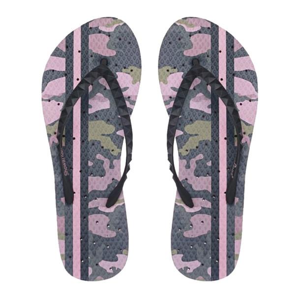 SHOWAFLOPS Womens Vintage Camo Light Pink/Olive Green Flip-Flops (8006)