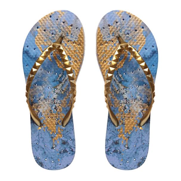 SHOWAFLOPS Womens Blue Grotto Blue/Metallic Gold Flip-Flops (9003)