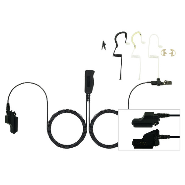 EAR HUGGER SAFETY Two-Wire T-Series Headset with PTT on Connector for Motorola Astro HT, XTS, MT, MTX (EH-PM2-1000)