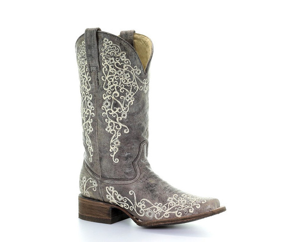 CORRAL Womens Square Iconic Lisa Bone Embroidery Brown Boots (A2663-LD)