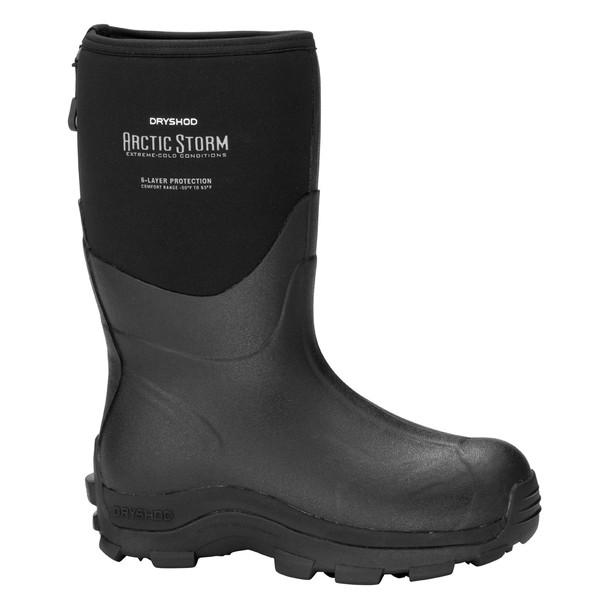 DRYSHOD Mens Arctic Storm Mid Black/Grey Winter Boot (ARS-MM-BK)