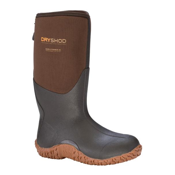 DRYSHOD Mens Barn Stormer Hi Rugged Farm Brown/Peanut Boot (BSM-MH-BR)
