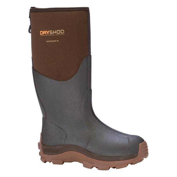 DRYSHOD Mens Haymaker Hi Brown/Peanut Hard-Working Farm Boot (HAY-MH-BR)