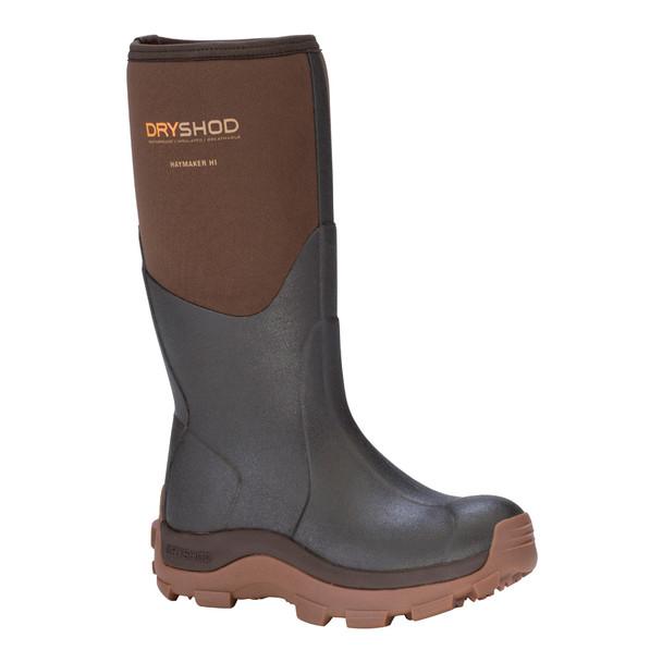DRYSHOD Womens Haymaker Hi Brown/Peanut Farm Boot (HAY-WH-BR)