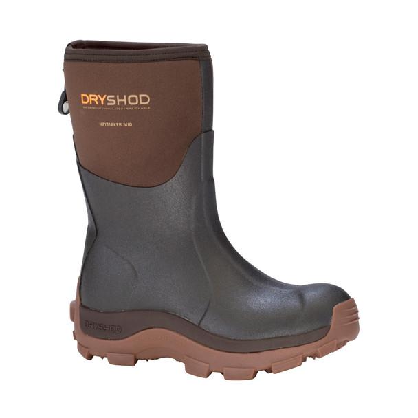 DRYSHOD Womens Haymaker Mid Brown/Peanut Farm Boot (HAY-WM-BR)