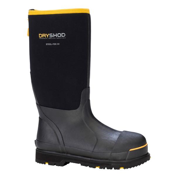 DRYSHOD Mens Steel-Toe Hi Black/Yellow Work Boot (STT-UH-BK)