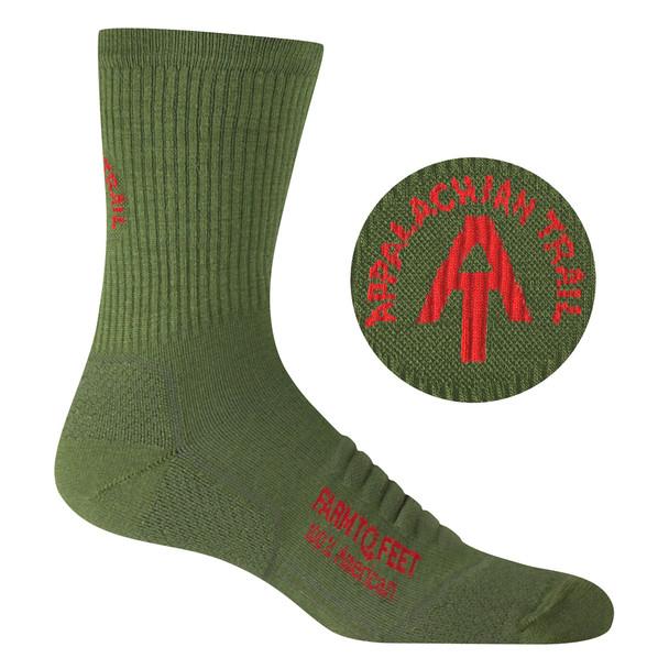 FARM TO FEET Harpers Ferry Lightweight Technical 3/4 Crew Winter Moss Sock (9798-315)