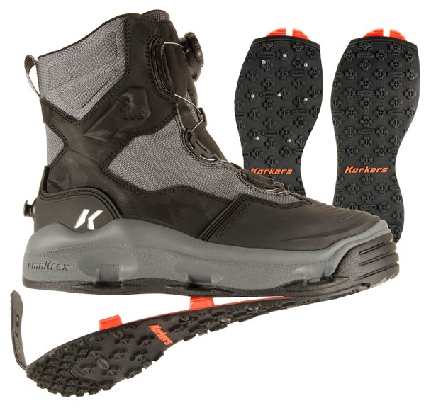 KORKERS Darkhorse Black/Gunmetal Fishing Boots with Kling-On and Studded Kling-On Soles (FB4720)