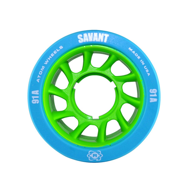 ATOM SKATES Savant 91A Blue/Green Quad Skate Wheels (QWA6000.BL)