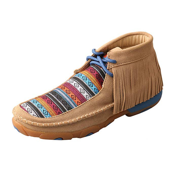 TWISTED X Womens Driving Serape Fringe Moccasins (WDM0064)