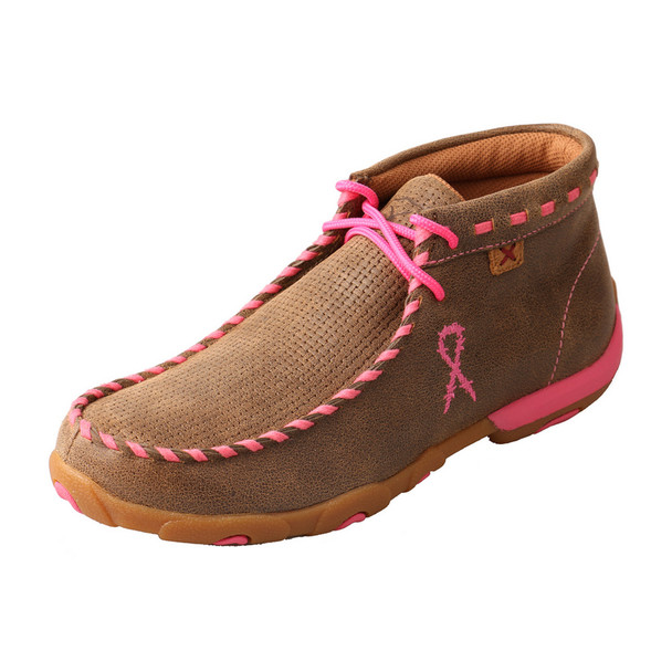 TWISTED X Womens Driving Bomber/Neon Pink Moccasins (WDM0051)