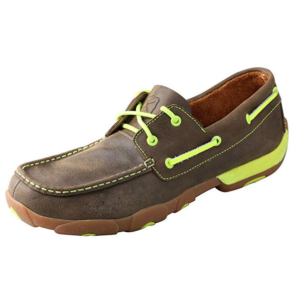 TWISTED X Mens Driving Bomber/Neon Yellow Moccasins (MDM0018)