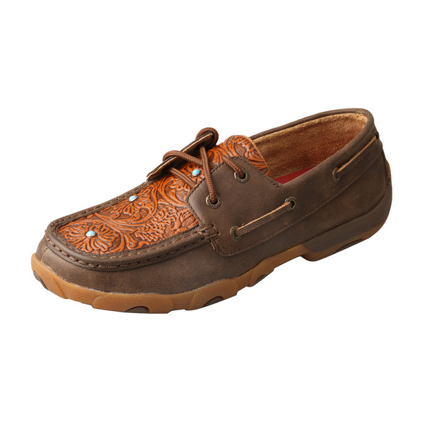 TWISTED X Womens Driving Brown/Tooled Flower Moccasins (WDM0092)