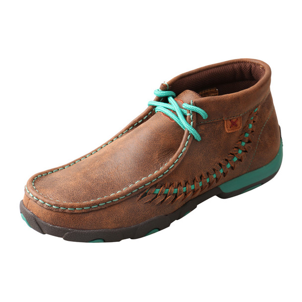 TWISTED X Womens Driving Brown/Turquoise Moccasins (WDM0093)