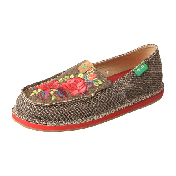 TWISTED X Womens Eco TWX Driving Moc Dust/Red Flower Casual Loafer (WCL0006)
