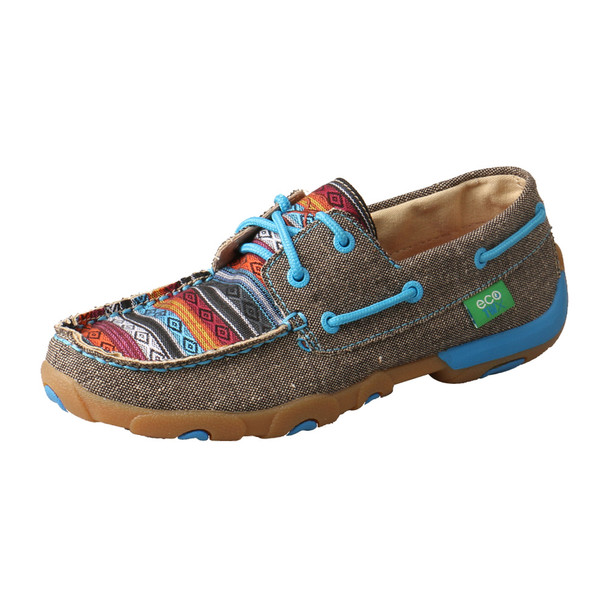 TWISTED X Womens Driving Dust/Multi Boat Shoe Moccasins (WDM0099)