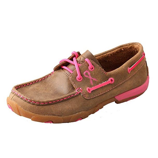TWISTED X Womens Driving Bomber/Neon Pink Moccasins (WDM0018)