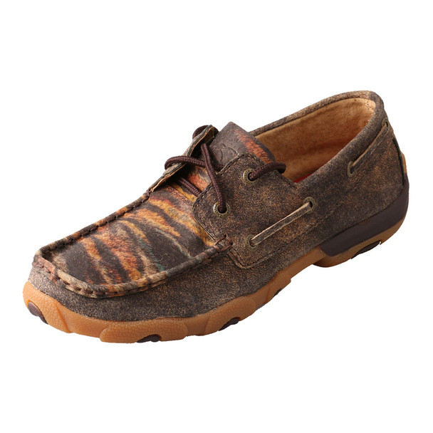 TWISTED X Womens Driving Distressed/Tiger Moccasins (WDM0023)