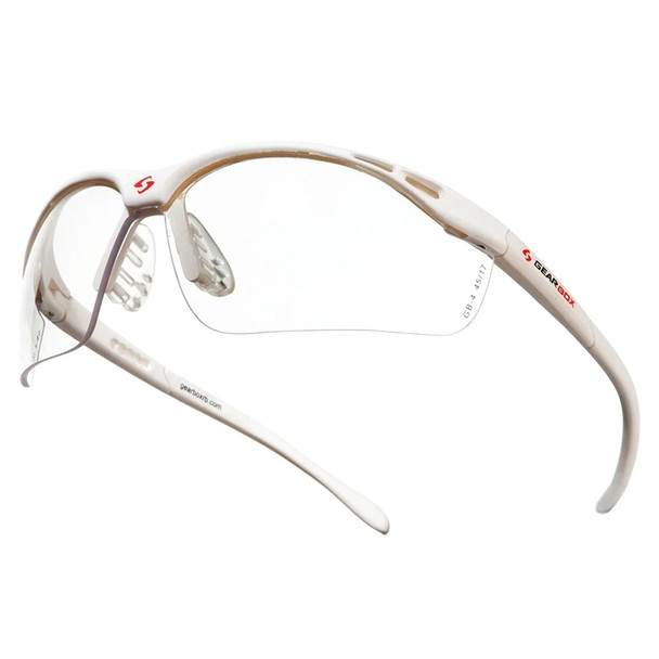 GEARBOX Slim Fit Clear Lens White Frame Eyewear with Hard Case (4E04-1)