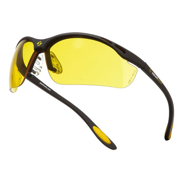 GEARBOX Vision Amber Lens Black Frame Eyewear with Hard Case (4E03-1)