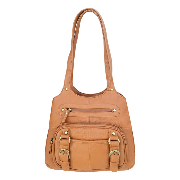 ROMA LEATHERS Moto Leather Concealment Tote Gun Left And Right Hand Light Brown Bag (7096-LBRN)