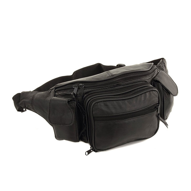 ROMA LEATHERS Large 8 Pocket Genuine Leather Waist Hip Lumbar Fanny Pack Bag with Dual Cell Phone Pockets (7089-BLK)