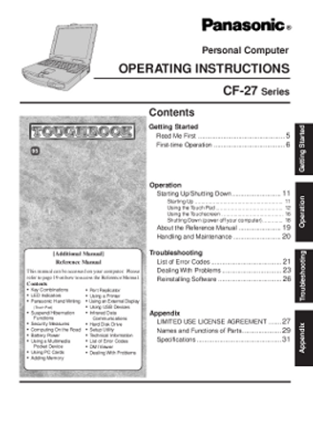 Panasonic Toughbook CF-27 Operating Instructions Manual