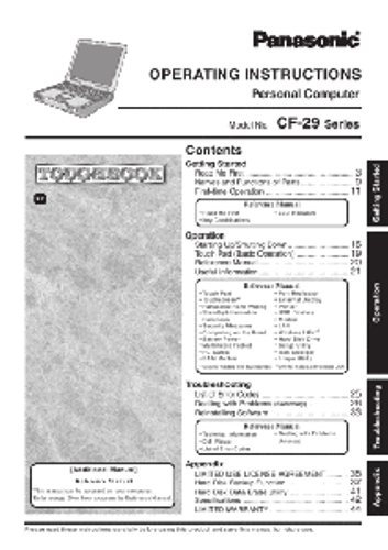Panasonic Toughbook CF-29 Operating Instructions Manual