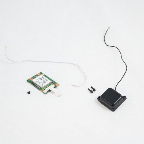 Toughbook CF-19 GPS assembly: PCB with ribbon connector, antenna, black and white cables and screws