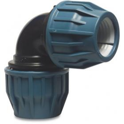 90 degree elbow compression coupler for polyethylene pipe