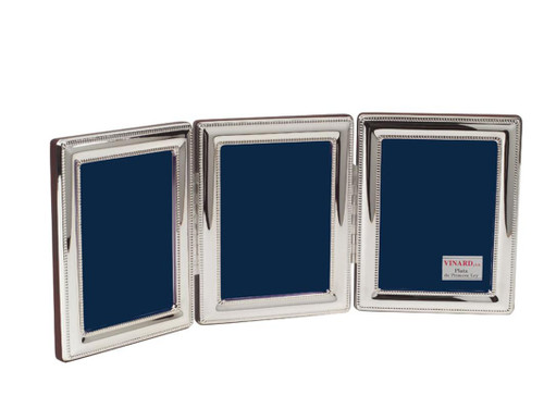 VINARD Sterling Silver Beaded Triple 5x7 Multi-Photo Frame