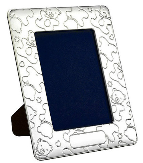 Engravable 'Raining Teddies' Sterling Silver 4x6 Picture Frame