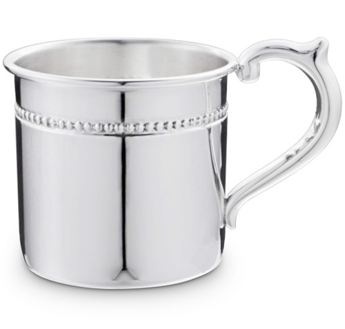 Engravable 'Pearls' Sterling Silver Baby Cup