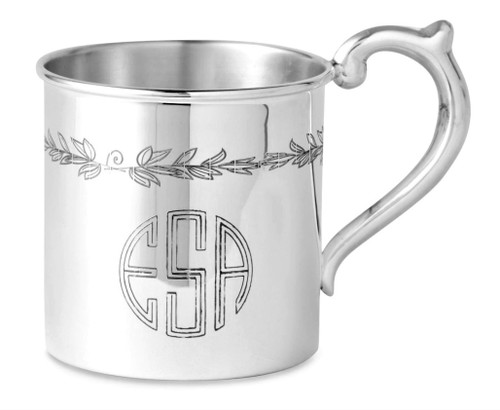Engraved Example 'Floral' Sterling Silver Baby Cup