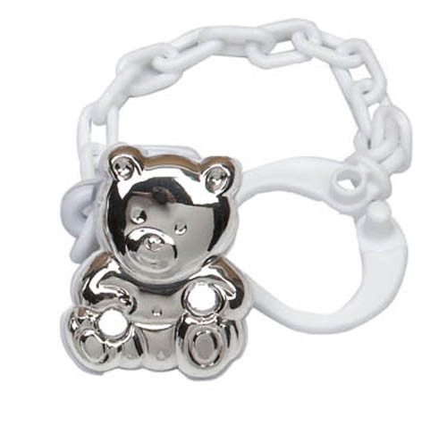 'Lil' Cub' Sterling Silver Baby Pacifier Clip