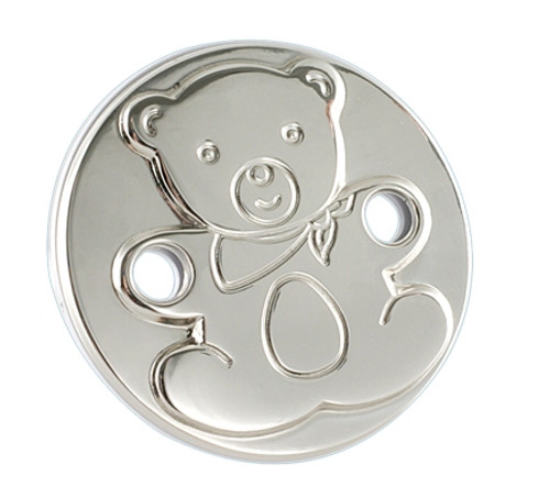 Engravable 'Round Teddy' Sterling Silver Baby Pacifier Clip