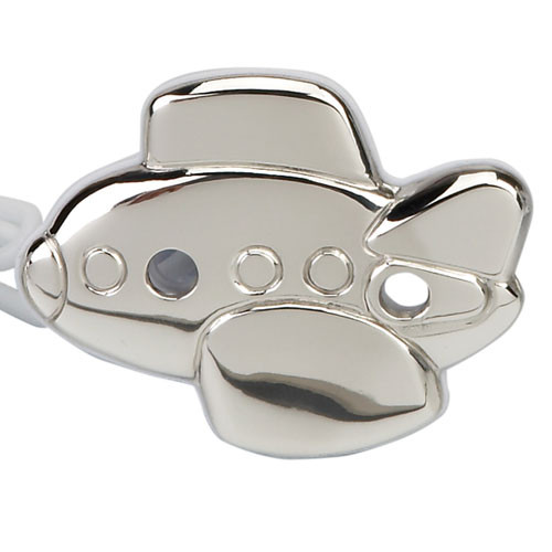Engravable 'Airplane' Sterling Silver Baby Pacifier Clip