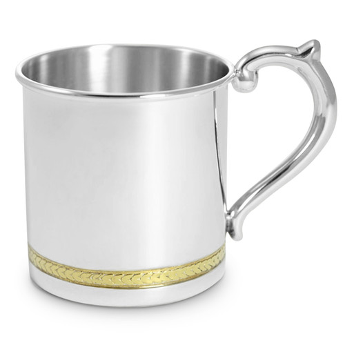 Engravable 'Gold Feathered' Sterling Silver Baby Cup