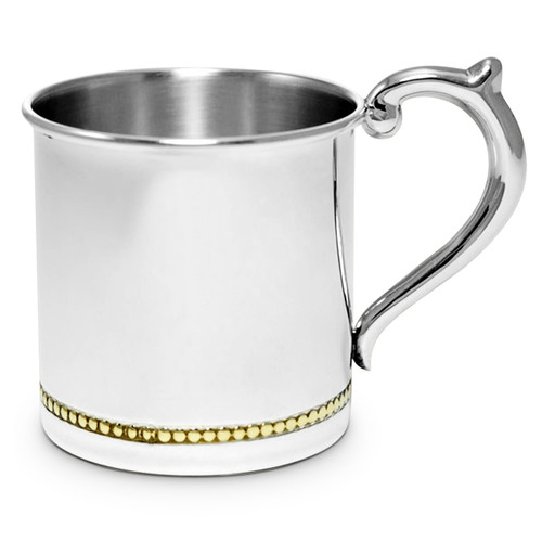 Engravable 'Gold Beaded' Sterling Silver Baby Cup