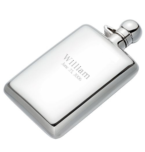 Engravable Sterling Silver Hip Flask