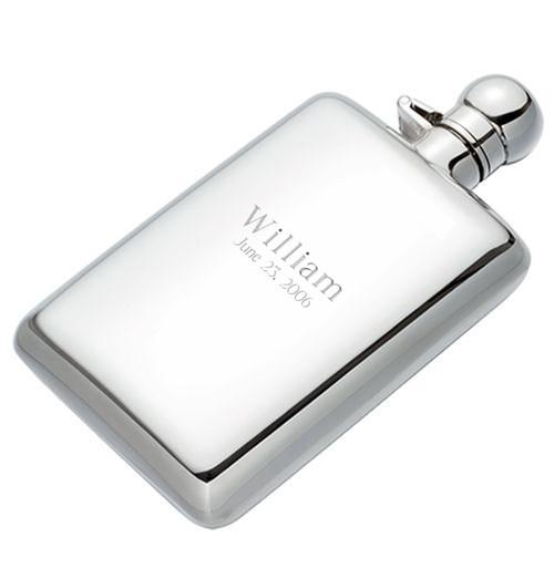 Engravable Sterling Silver Hip Flask