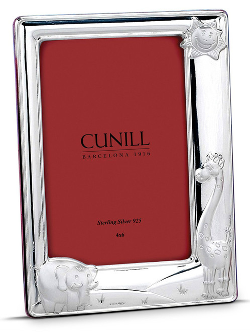 Engravable 'Sunny Jungle' 4x6 Sterling Silver Picture Frame (Pink Back)